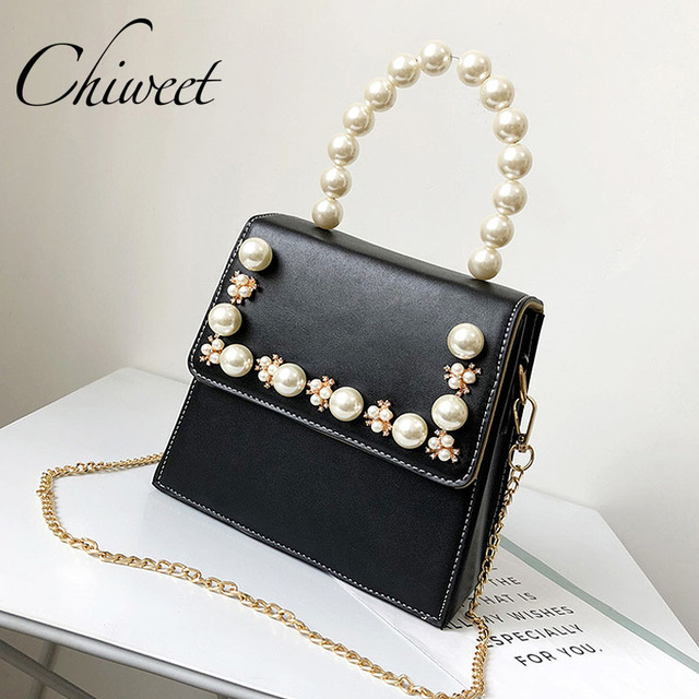 3acbe8302a3 Designer Ladies Flower Pearl Totes Square Bag Trendy Party Luxury Handbag  Women Shoulder Messenger Bags Brand