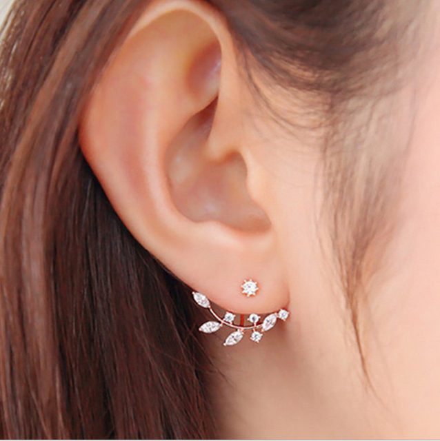 Hot Crystal Leaf Ear Jacket Earrings Gold Color Back Cuff Stud For Women Statement Jewelry