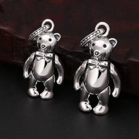2019 New Pendant 100% 925 Sterling silver Jewelry Men Women Delicate bow bear Necklace Pendant Jewelry making Birthday Gifts