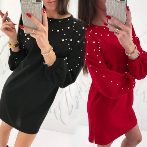 Frauen Langarm Tunika Midi Kleid Pullover Jumper Top Winter Schwarz Maxi Kleider für Damen
