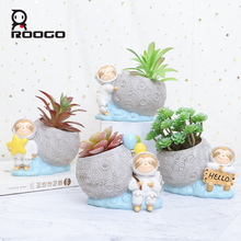 Roogo Flower Pot Mini Garden Cactus Succulent Modern Plant Flowerpot Home Decor Indoor Room Balcony Decorations Pots