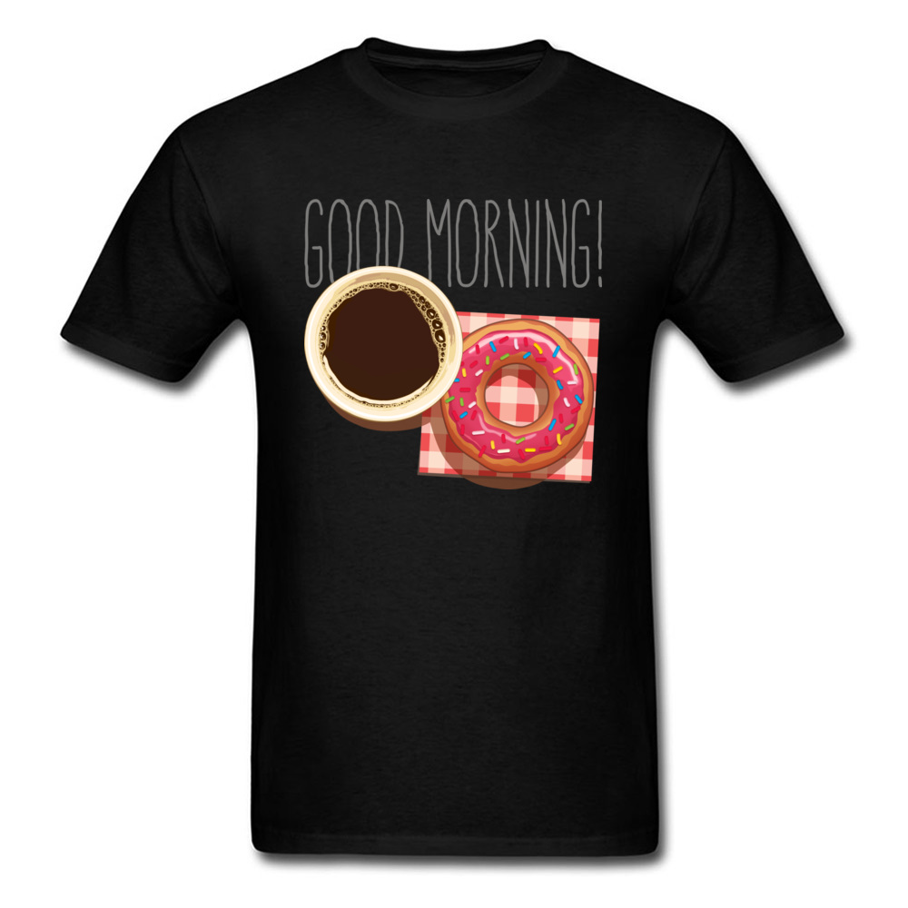 Mens Tops Shirt Coffee and Donut. Good Morning 2018 Popular T Shirts 100% Cotton Round Neck Short Sleeve Clothing Shirt Unique