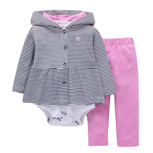 Image 2 - long sleeve love heart hooded coat+gray bodysuit+pants pink 2019 baby girl outfit newborn boy clothes set infant clothing suit