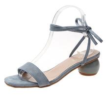 цены Trendy Elegant Ankle Strap Heels Sandals Women Blue Black Summer Shoes Woman Mules Slippers Women Open Toe sandales femme 2019