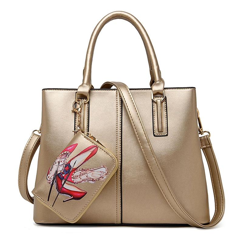 ФОТО Famous Brand Designer Purses And Handbags 2017 Women Leather Handbags Set Black Gold Tote Bag Large Capacity Women Shoulder Bags