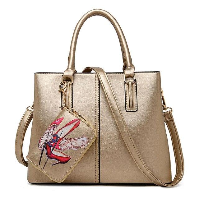 Famous Brand Designer Purses And Handbags 2017 Women Leather Set Black Gold Tote Bag Large