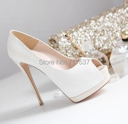 5dc563dd1a4 white gold glitter wedding shoes bridal pumps peep toe Ultra high heel thin  heel women prom dress shoes size 35 to 39