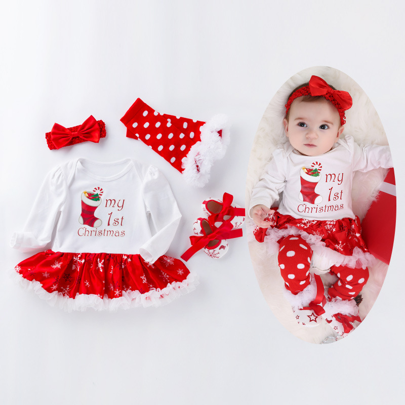 ecc3bc32a58c2 Christmas Baby Costumes Cotton Infant Toddler Girls First Christmas Outfits  Newborn Christmas Romper clothing Set birthday gift - Best Kids Clothing  Stores ...