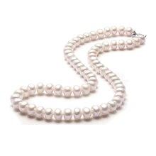 De calidad superior 8-9mm semiesférica natural collar de perlas 45 cm lenth del corchete plateado platino joyería de las mujeres de seda bolso 3 de color perla