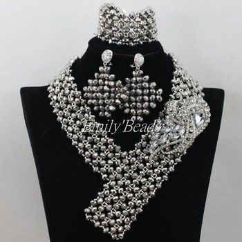 African Grey Costume Jewelry Sets Nigerian Wedding/Party Crystal Beads Jewelry Sets 2016 New Free Shipping AIJ357