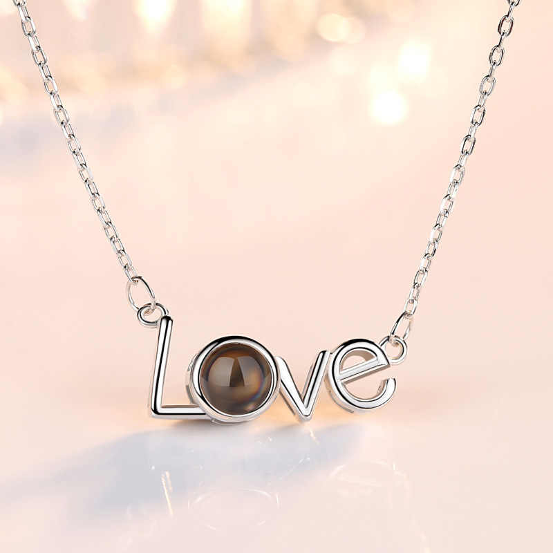100 Language i Love You Projection Necklace Women Memory Jewelry Stainless Steel Chain Love Letters Necklaces Pendants 2019