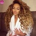 8А Блондинка Меда Бразильские Глубокая Волна Вьющиеся Волосы Девственницы 3 Пучки Ombre Свободные Глубокая Волна Бразильских Волос Tissage Bresilienne Вьющиеся