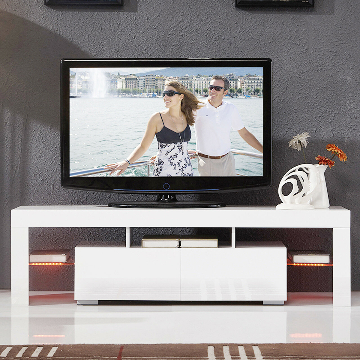 55 Inch Portable Detachable LED Light High Gloss TV Unit Cabinet Stand 2 drawers White Black Wood TV Stands with LED TV Table