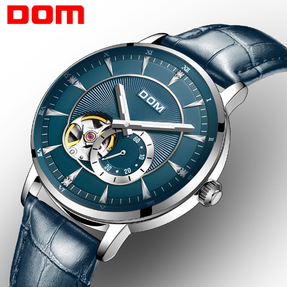 DOM Watch Men Luxury Blue Color Creative Skeleton Wrist Watch Leather Strap Waterproof Fashion Automatic Watch for Men M-8104