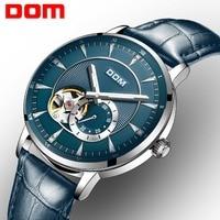 DOM Watch Men Luxury Blue Color Creative Skeleton Wrist Watch Leather Strap Waterproof Fashion Automatic Watch for Men M 8104