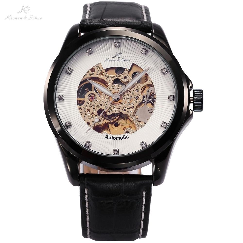 купить Ks Royal Carving Skeleton Crystal Automatic Mechanical Elegant Men Gents Business Dress Leather Wrist Wrap Tag Gift Watch /KS102 дешево