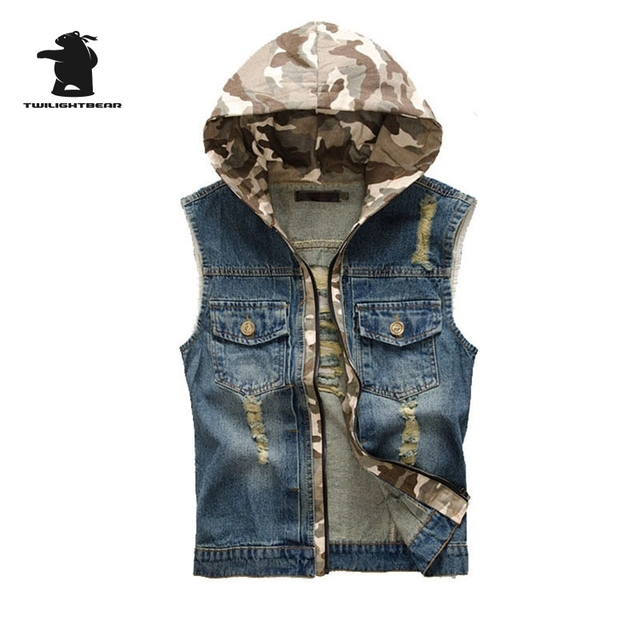 New men's Denim Vest Designer Fashion Vintage Retro Hooded High Quality Washed Plus Size Casual Vest Men M~3XL CC4E8052