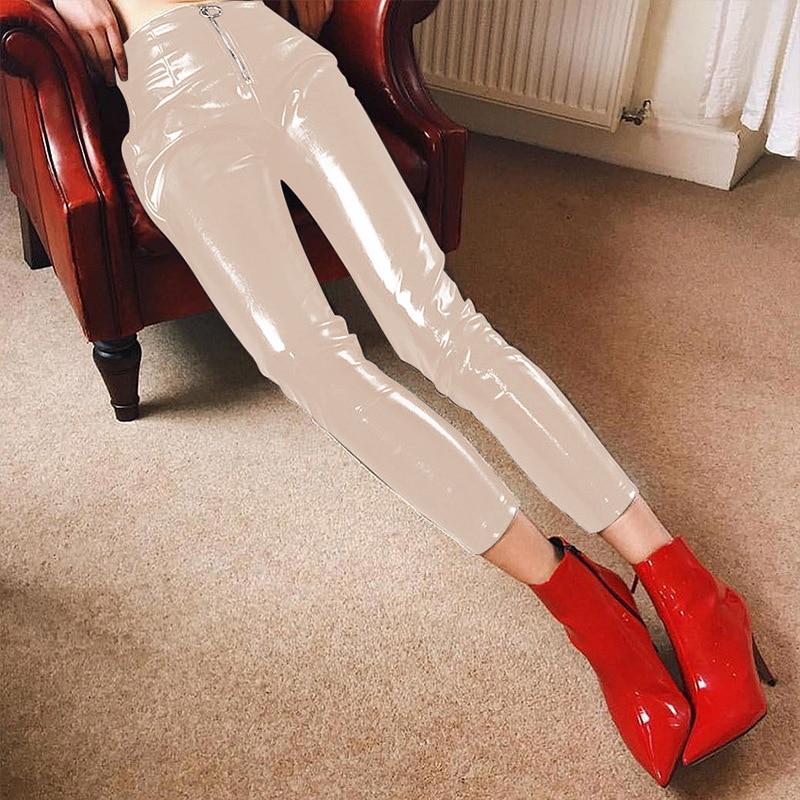 Cuero Pu Alta Zipper Patente Skinny Mujeres Wild caqui Oferta Vadim Negro Fly Especial 2018 rojo Lápiz Rushed Faux Solid Apretados Pantalones vqaXw