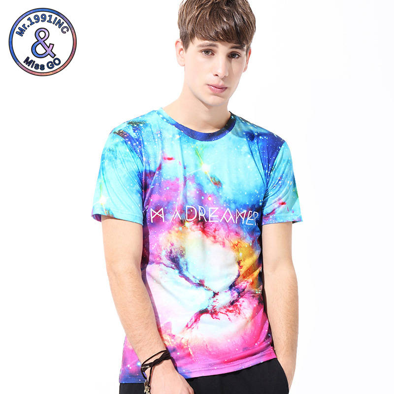 Mr.1991INC Young Peoples Tees Tide Brand Men T-shirts Bright Starry Sky 3d Print Tops Tees Summer Fashion Short Sleeve