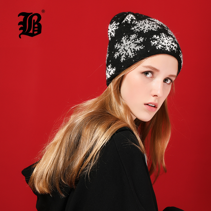 [FLB] Winter   Beanie   Women Hat Thicken Wool Snowflake Caps Knitted   Skullies     Beanies   Bright silk Warm Slouchy Hats For Girl 17036