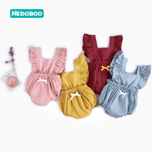 Medoboo Cotton Baby Girl Clothes Summer Ruffle Solid Color Sleeveless Newborn Children Romper Princess One-piece 30