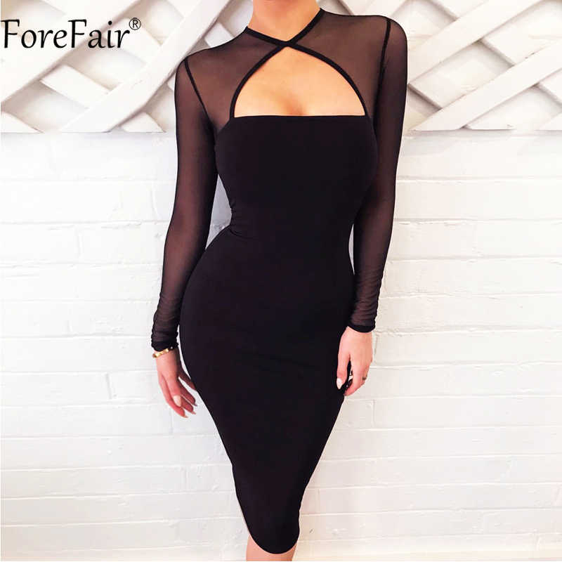 5320fa0fb1f Detail Feedback Questions about ForeFair Open Chest Sexy Mesh Dress Women  2018 Autumn Winter Female Black Midi Bodycon Long Sleeve See Through Party  Dress ...