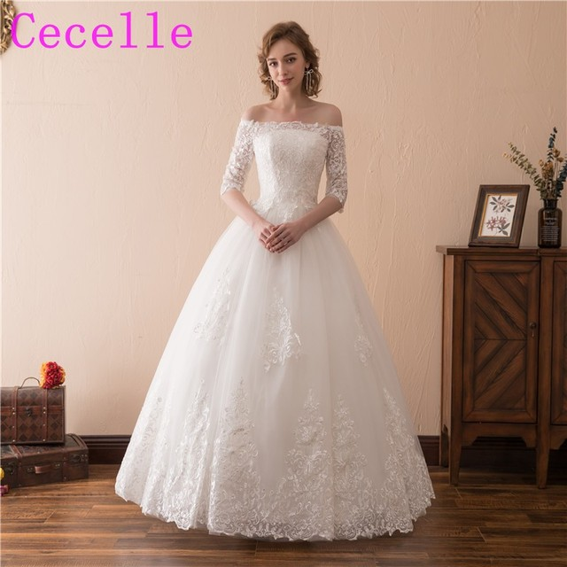 Off The Shoulder Ball Gown 2018 Wedding Dresses With Sleeves Lace Tulle  Corset Back Floor Length
