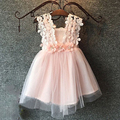 2017 Summer Sleeveless Wedding Girl Flower Dress 2 to 6 Years Old Voile Tutu Floral Strap Dresses Voile Solid Wedding Cloth