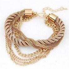 Envío Gratis moda multicapa pulsera de encanto exagerado pulsera de cadena de oro de mujer de alta calidad tejida a mano cuerda joyería