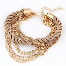 Free Shipping Fashion Multilayer Charm Bracelet Exaggerated Gold Chain Bracelet Femme High Quality Of Handwoven Rope