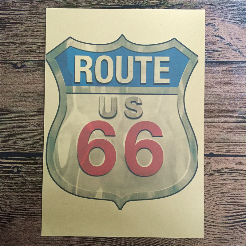 Hot sales RZCB-070 back to the future kraft paper us 66 sign home decor vintgae poster paintings for living room wall 42x30 cm