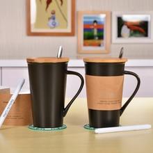 2016 New Fashion Limited Edition Schwarz Keramik Wasser Becher 500 ML Trinken Kaffeetasse mit Deckel, matte, Marker Pen & Löffel Heißer Verkauf