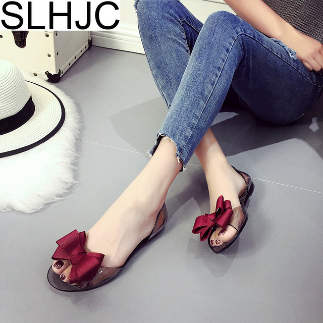 SLHJC Jelly Shoes Summer Sandals Women Flat Heel Open Toe Casual Beach Shoes Slip Resistance Shallow Mouth Flats Plus Size