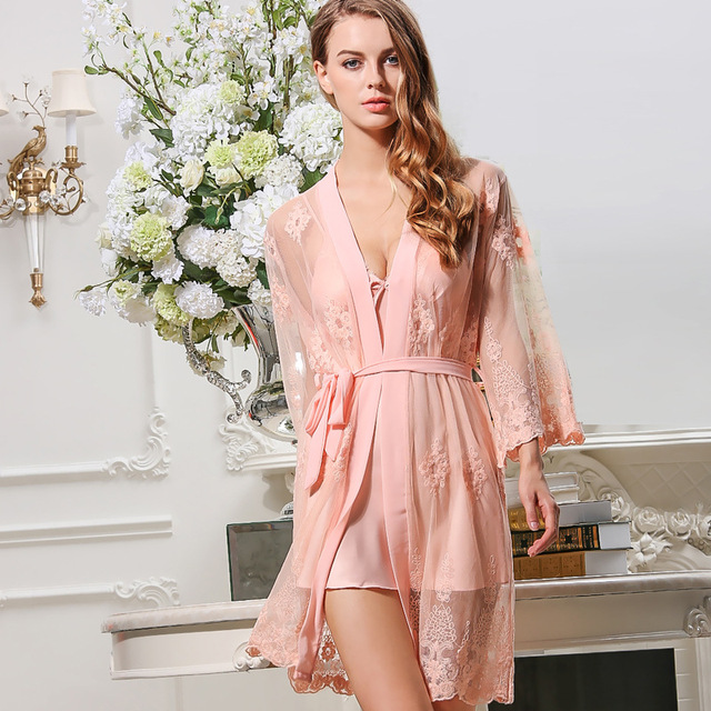 2018 women Sexy Silk Like Lace Robes Grenadine Embroidered nightgowns  2pieces sleepwear sets Padded Nightdress 7027a21b5