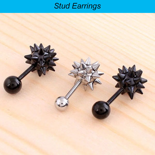 1 Pair 2 Pieces Silver Black Stainless Steel Lady Mens Punk Spike Rivet Ball Earrings Studs Ear Plug Piercing Jewelry In Stud From