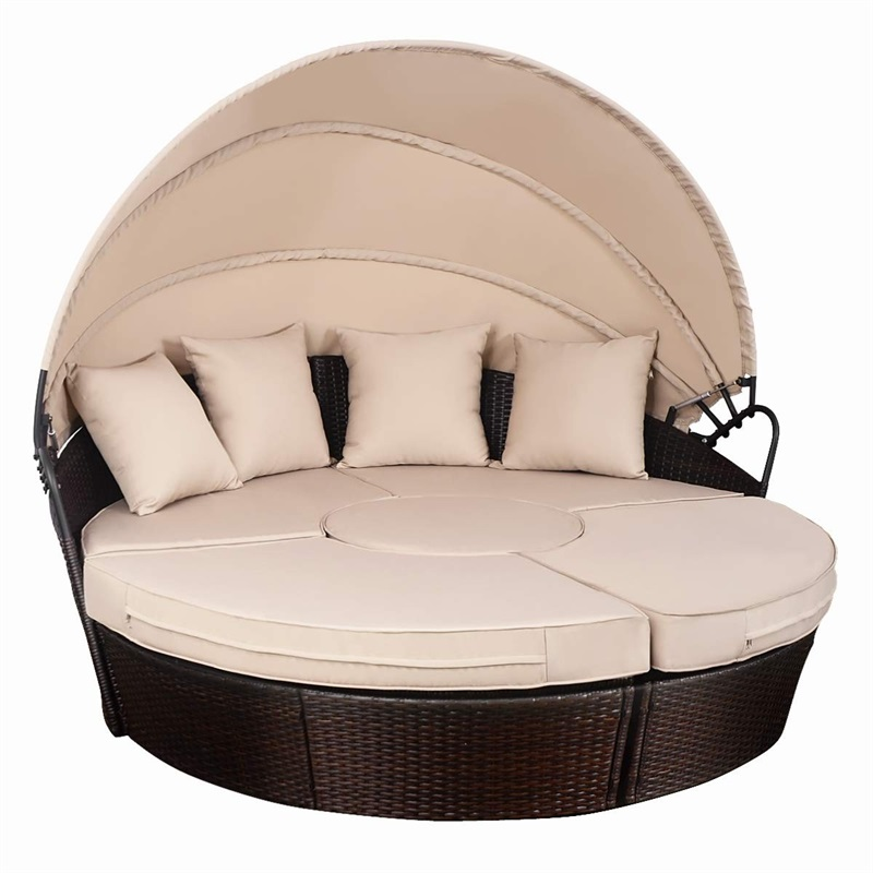 Outdoor Patio Rattan Retractable Canopy Daybed Sturdy And Durable Construction Outdoor Furniture Sets Elegant Style HW53895+