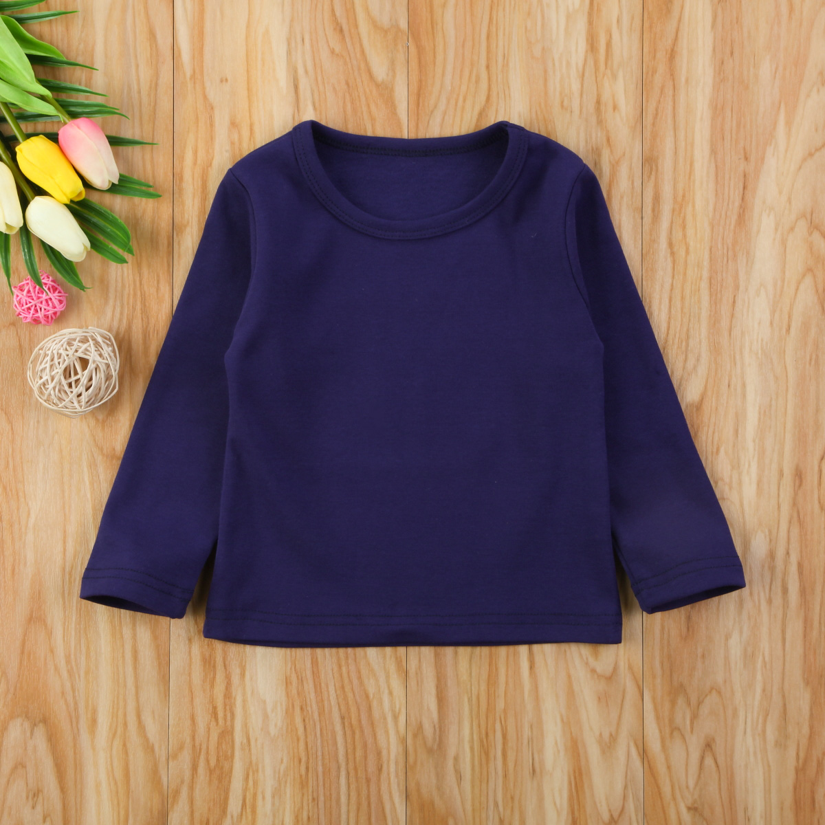 Autumn Cotton Newborn Infant Kids Baby Boys Girls Clothes Solid Cotton Soft Clothing Long Sleeves T-shirt Tops 7
