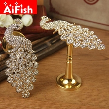 Curtain Accessories Gold and Sliver Zinc Alloy Luxury Fashion Curtain Hooks Holder Hang Peacock For Window Curtains DF086-30