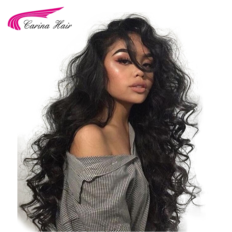 Carina Lace Front Human Hair Wig with Baby Hair Free Part Glueless Wigs Brazilian Deep Wave Remy Hair Pre Plucked Hairline