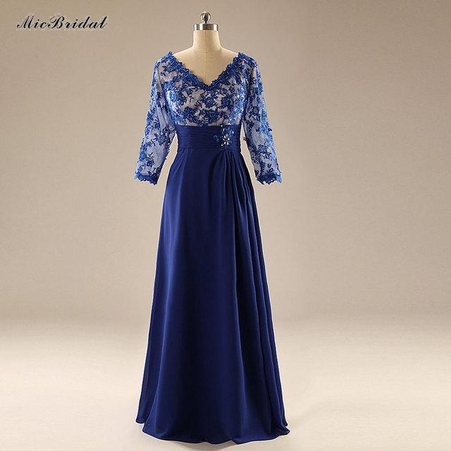 Atacado Longo Banquete Vestido de Noite 2016 Laço Azul Bordado 3/4 Manga Mãe dos Vestidos de Noiva Robe De Soirée MA-73