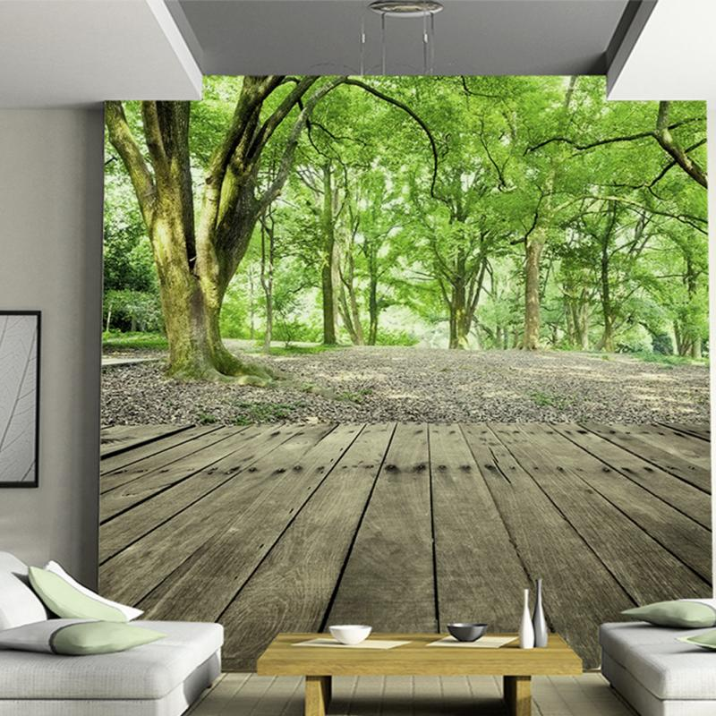3D Photo Wallpaper Forest Nature Designer Wall Mural Wallpaper Welcoming  Pine Trees Seamless Background Forest Wall Decal 2017