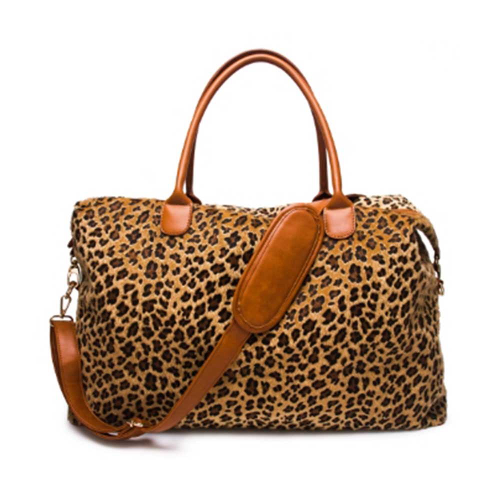 Wholesale Leopard Print Travel Bags Organizer Fashion Short Fur Weekenders With Long Strap Ladis Large Duffle Overnight Totes