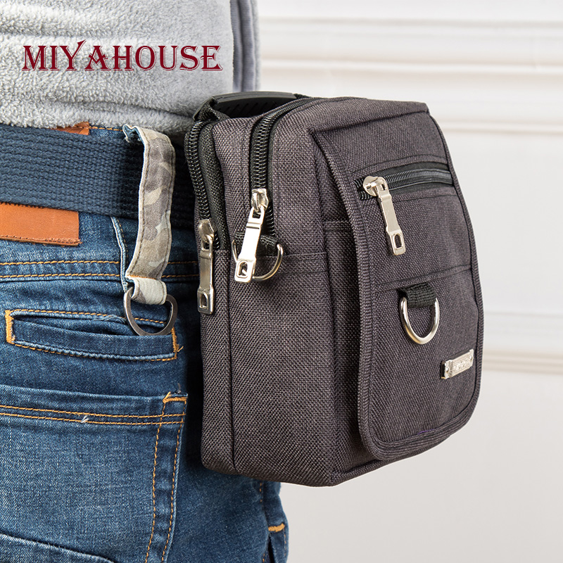 Miyahouse Multifunction Canvas Waist Packs For All People Travel Mini Belt Waist Bags Crossbody Bag Men Small Bag