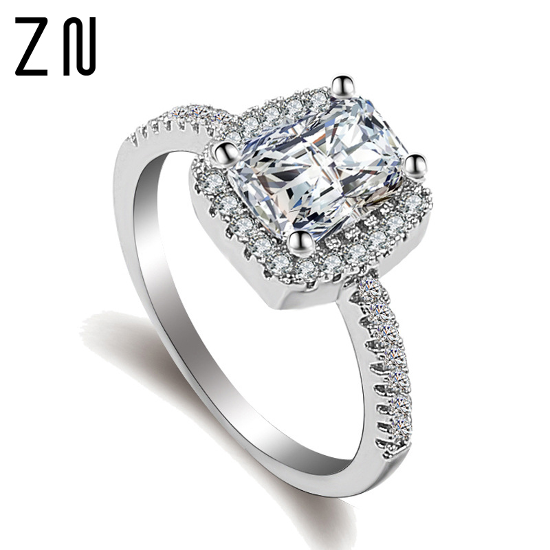 ZN Fashion Rings Show Elegant Temperament Jewelry Womens Girls White Silver Filled Wedding Ring(China)