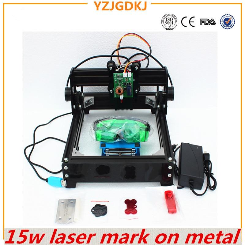 15 W incisione laser macchina, grande potenza laser incisore, scultura in metallo macchina di marcatura, FAI DA TE in metallo macchina per incidere mark sulla modifica di cane