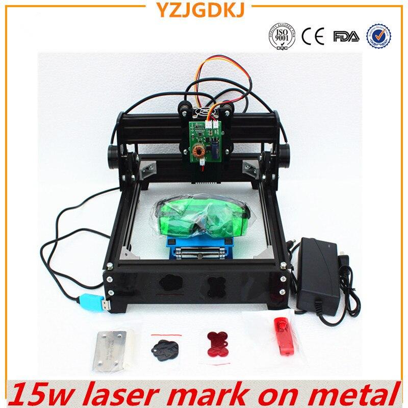 15 W laser machine de gravure, grande puissance laser graveur, métal sculpture machine de marquage, DIY en métal machine de gravure marque sur chien tag