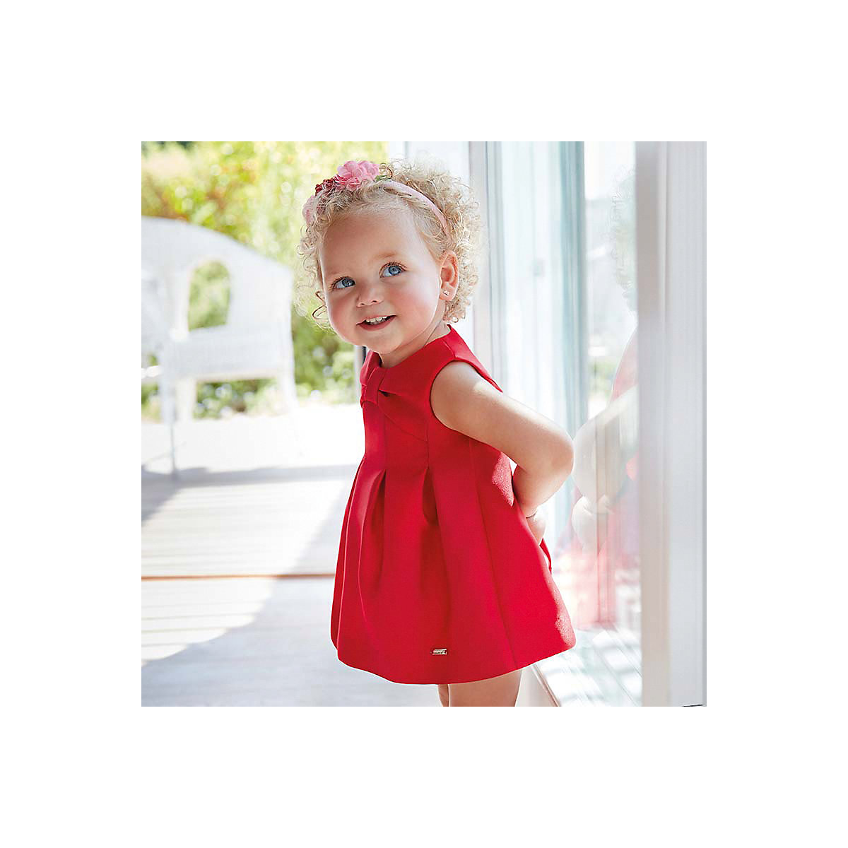 MAYORAL Dresses 10678724 Girl Children Party fitted pleated skirt Red Polyester Preppy Style Solid Knee-Length Sleeveless Sleeve
