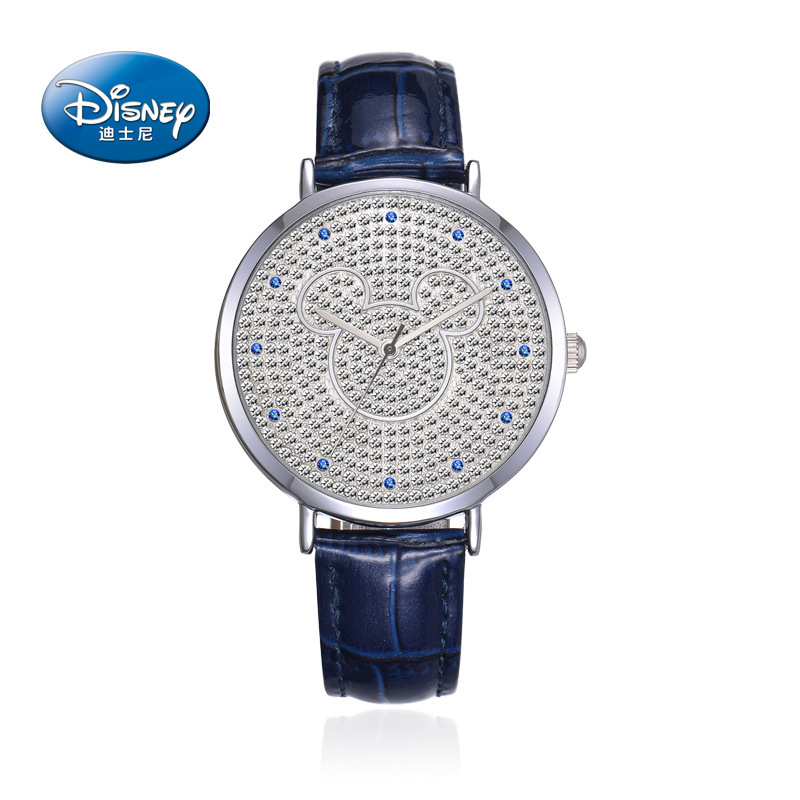 Disney Genuine leather women clocks full diamond luxury ladies watch Mickey mouse waterproof quartz black pink white blue 100% genuine disney mickey mouse women quartz wrist watch with brand box packaging for 2016 birthday gift 30m feet waterproof