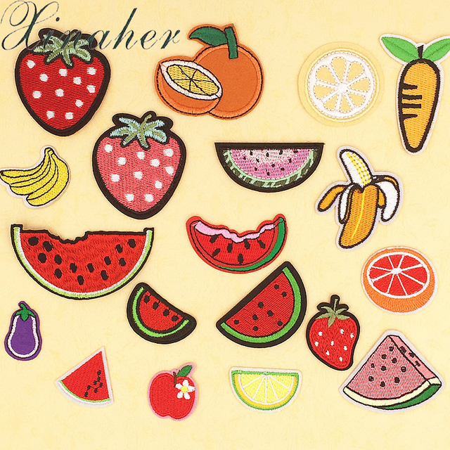 US $2 86  XINAHER Patches For Clothes Iron On Applique Embroidered Patches  DIY Labels Backpack Sticker Sew Patches Fruit Cartoon-in Patches from Home
