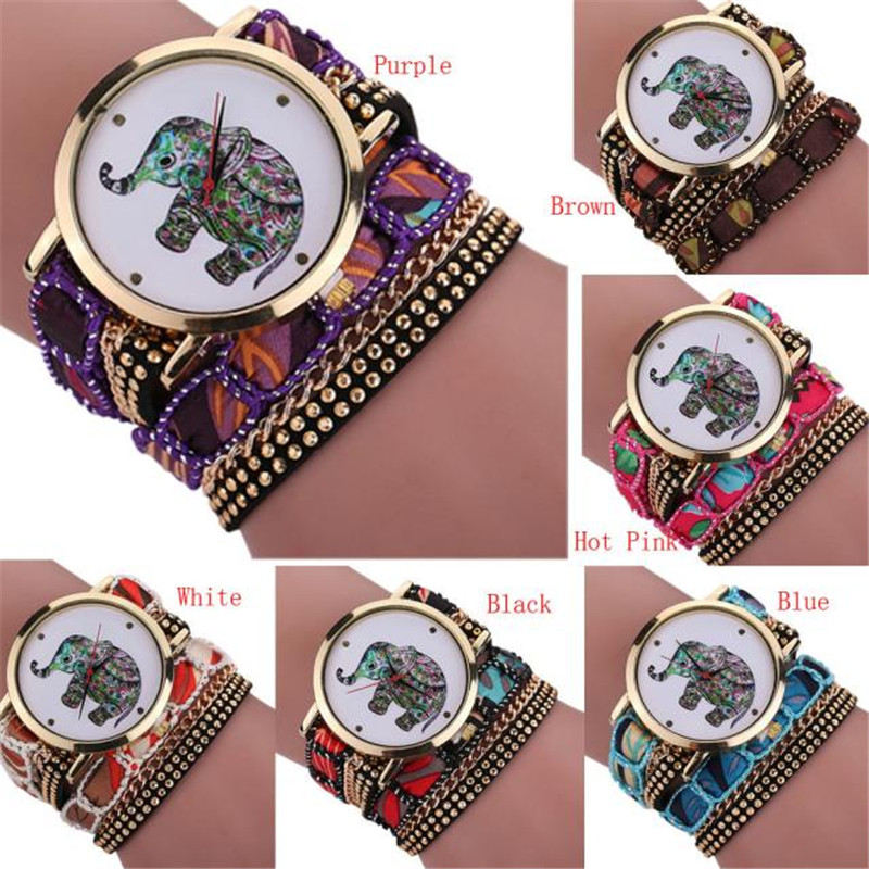 New amazing colorful beautiful colorful Women Girl Rhinestone Elephant Pattern Quartz Bracelet Wrist Watch / elephant rhinestone quartz bracelet wristband watch
